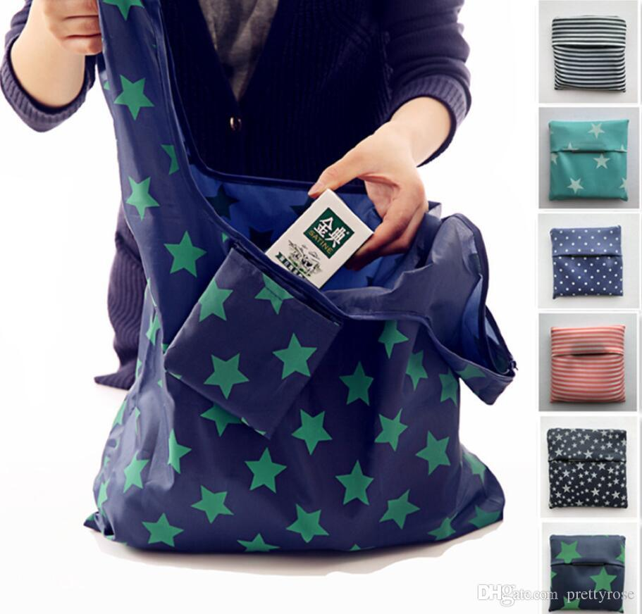 New Waterproof Nylon Foldable Shopping Bags Reusable Storage Bag Eco Friendly Shopping Bags Tote Bags Large Capacity Free Shipping