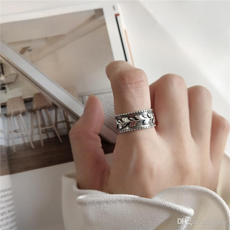 New Vintage Style 925 Sterling Silver Leaf Open Rings For Women Retro Wide Open Statement Ring Fine Jewelry