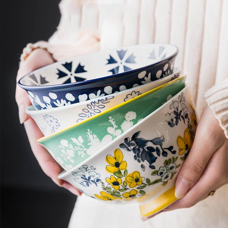6 Inch Creative Japanese Ramen Instant Noodle Bowl Large Ceramic Salad Bowl Fruit Dish Soup Spaghetti Pasta Microwave Tableware