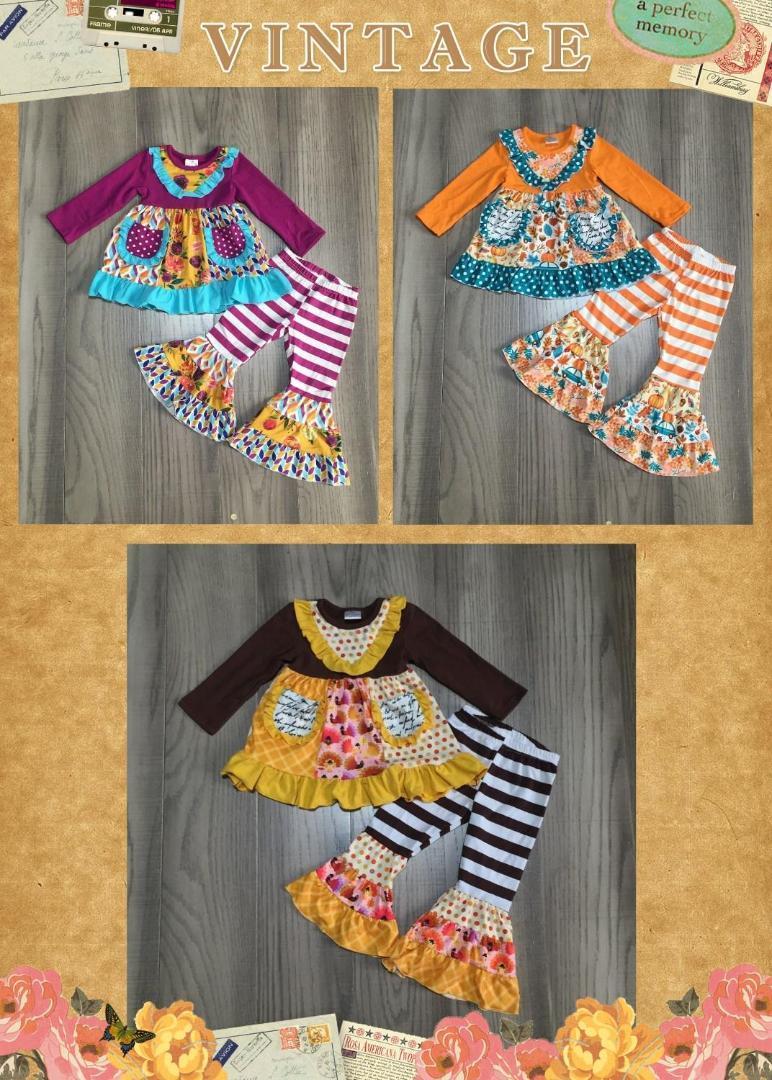 bébé fille automne / vêtements d'hiver filles robe à fleurs avec un pantalon de fond de cloche bébé boutique enfants
