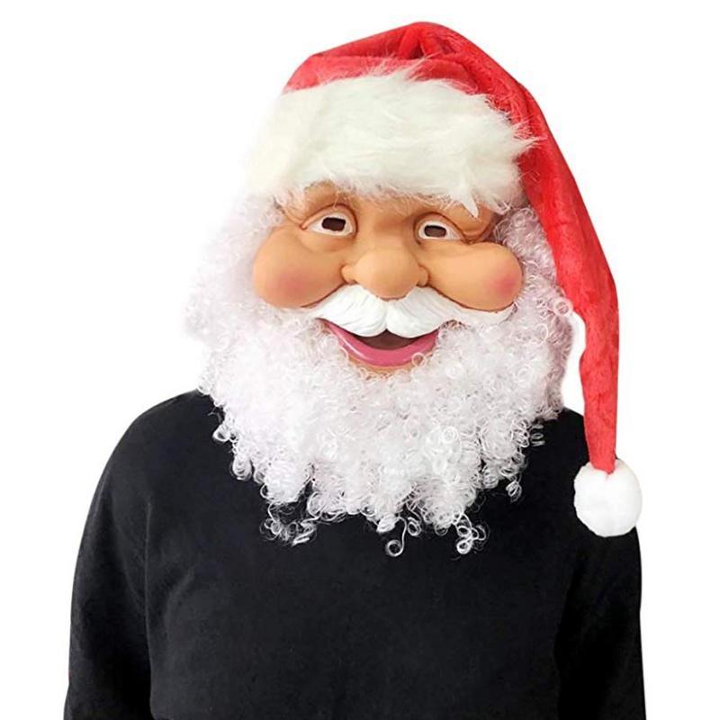 بابا نويل قناع مع اللحية أزياء DIY كامل الوجه المغطى حزب قناع عيد الميلاد زينة عيد الميلاد زي
