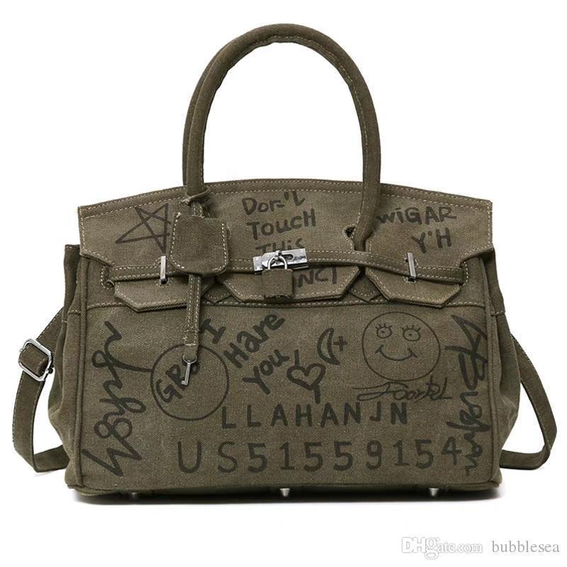 Crazy2019 الشخصية الكتابة على الجدران قماش حمل حقيبة جوكر الكتف رسول حقيبة أوروبا وأمريكا حقيبة كبيرة جذابة شحن مجاني