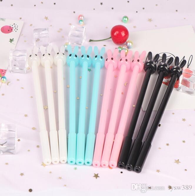 Lovely Rabbit 0.38mm Gel Pens Multi Long-eared Rabbit Cartoon Gel-Pen Writing Supplies Office & School HA392