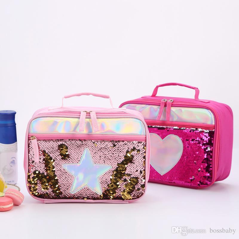 만화 휴대용 점심 가방 학교에 다시 학생 소녀 광장 스팽글 스타 알루미늄 호일 보존 점심 가방 더블 지퍼 스토리지 가방