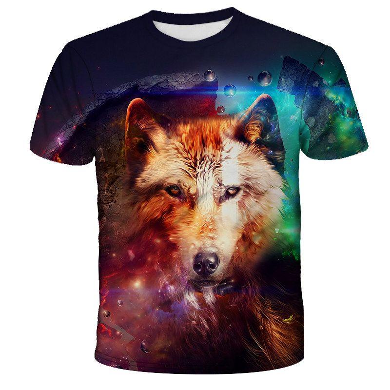 3D schönen Wolfskopf Druck Art und Weise Hip Kurzarm T-Shirt Sommer hohe Qualität atmungsaktiv T-Shirt Männer camiseta mas hop