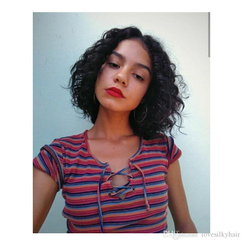 новый стиль женщины бразильские волосы короткие боб вьющиеся парик моделирование человеческих волос боб волна парик для леди
