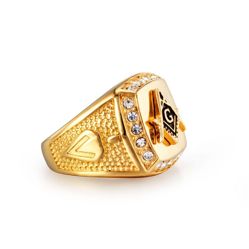 خاتم رجالي من الستيل المقاوم للصدأ - ذهبي اللون كريستال حجر الراين خواتم للرجال والنساء - كلاسيك ريترو رايدر كاوبوي مجوهرات الهيب هوب