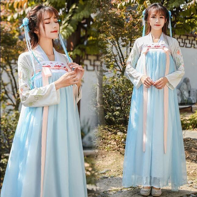2019 neue Hanfu weiblichen glücklichen Gast Xiaqi Brust Rock Kleid Kostüm Fee verbesserte chinesische Elemente frisch täglich elegant