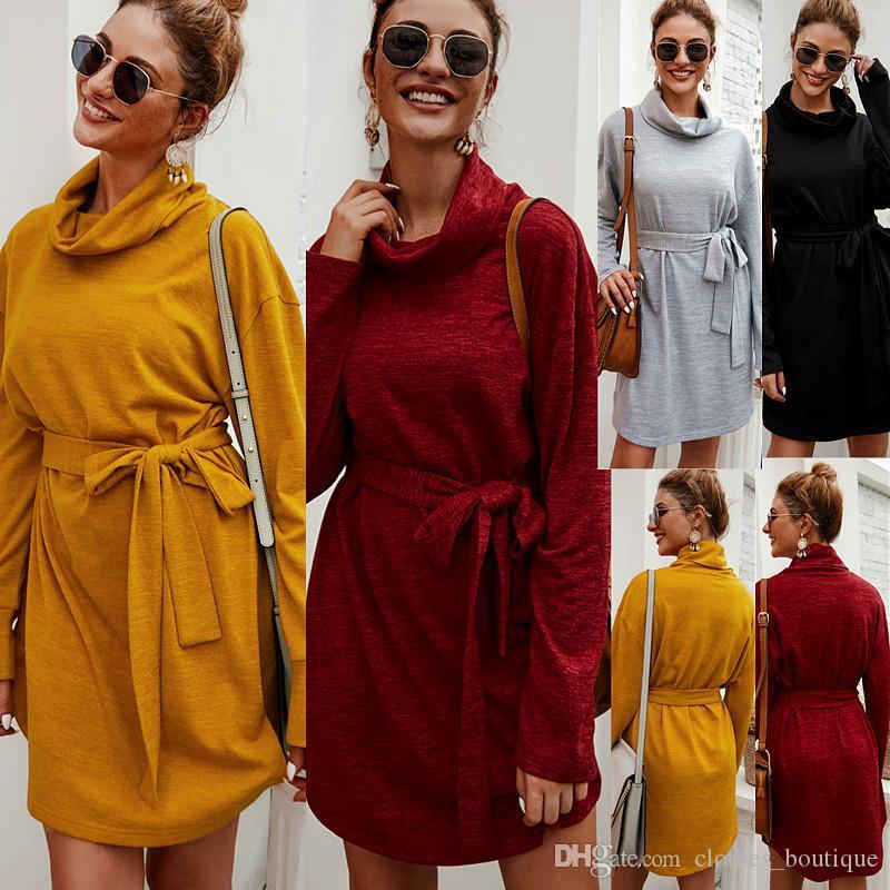 Coton Femmes Automne Hiver manches longues élégant en tricot moulante nouée à la taille Robe pull Crayon