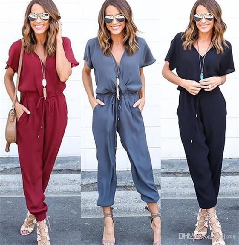 New Summer Sexy V Neck Pleated Waist Pocket Rompers Womens Jumpsuit Loose Cross Overalls Short Sleeve Playsuit S-XL