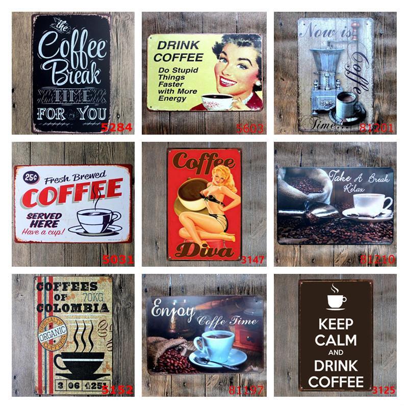 Peinture Métal Café Vintage Café Tin Connectez-Paires Italiano caféine Affiches Vintage Métal Fer Peinture Bar Cuisine Décor mur