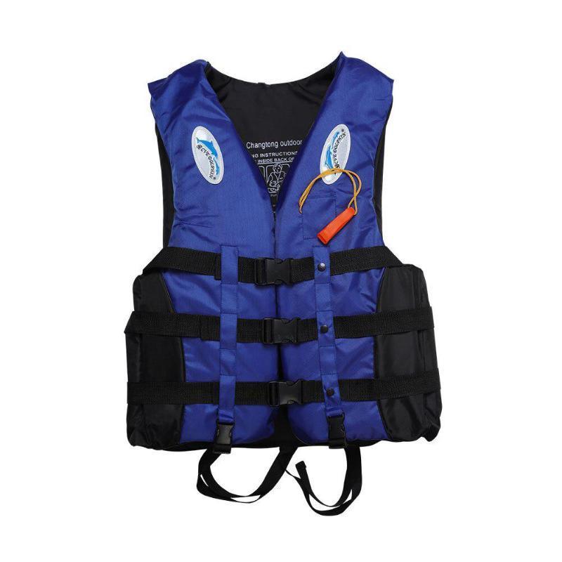S-3XL Chaleco de Vida Adulto Vestido LifeSaving Natación Natación Sailing + SHISTLE AZUL EPE Material