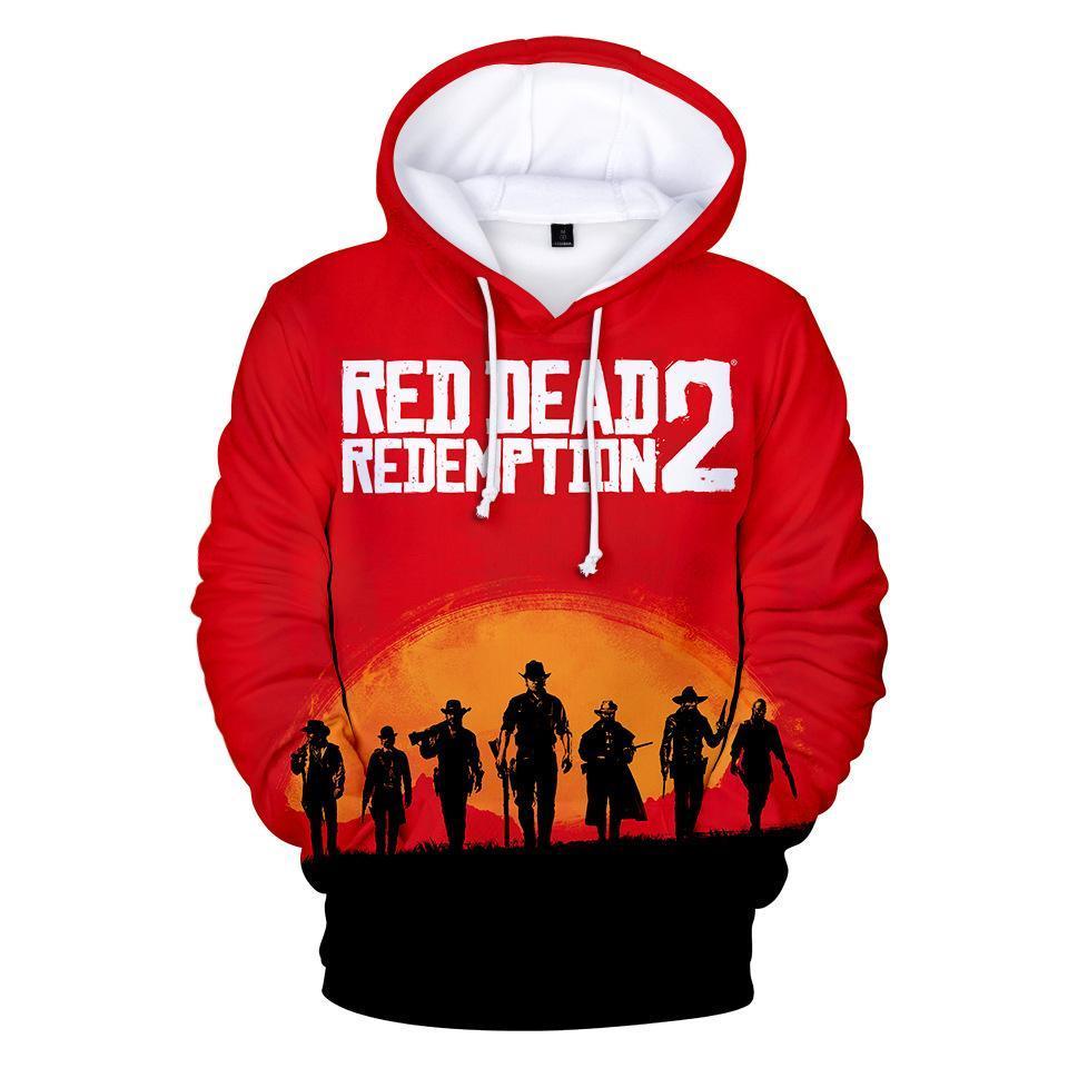 RED DEAD 상환이 개 어린이 디자이너 의류 소년 남성 여성 캐주얼 3D 후드 스웨트 셔츠