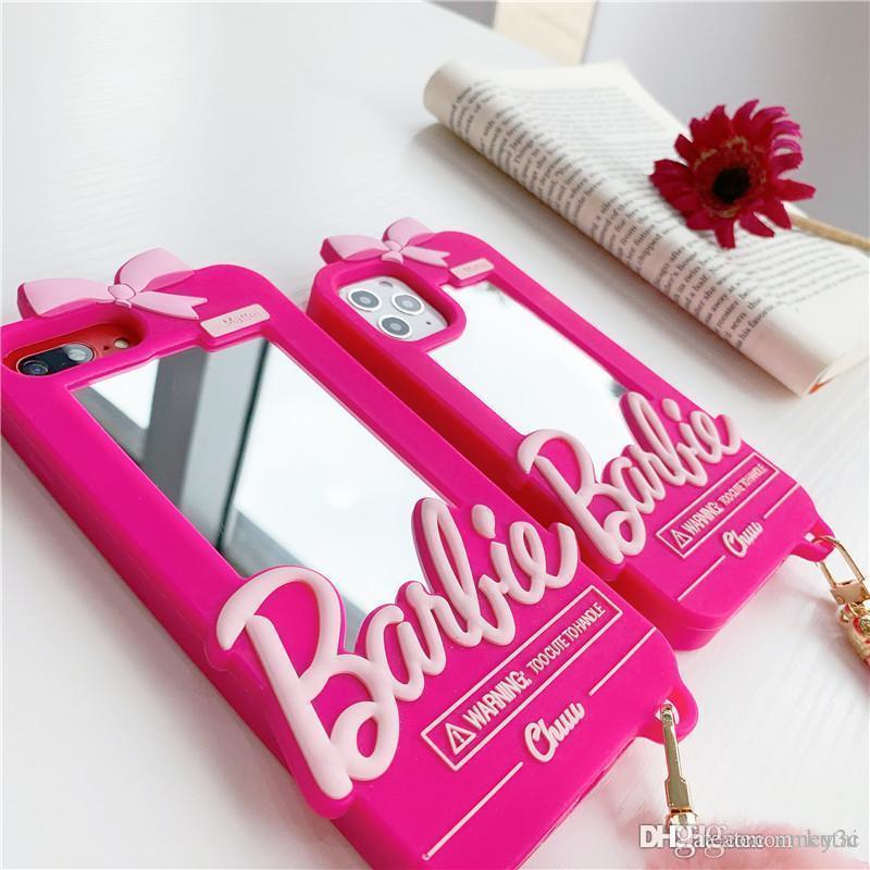 선물에 대한 아이폰을위한 좋은 패션 상자 바비 인형 미러 실리콘 전화 케이스 (11) 프로 X XS MAX XR 7 8 플러스 SE 귀여운 핑크 케이스 백 커버