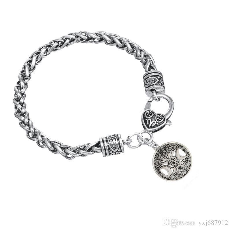 BC28 retro stars moon zinc alloy pendant life flower pendant bracelet creative men and women wild models