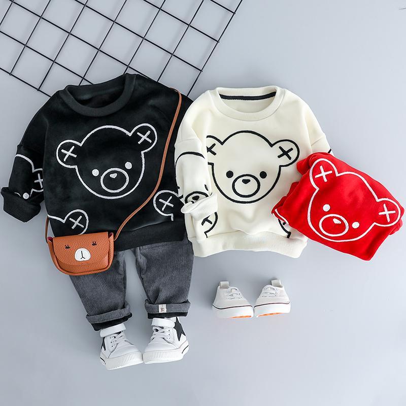HYLKIDHUOSE Baby Girl Boy Clothing Sets 2018 Autumn Winter Plush Infant Clothes Suits Cartoon Children Kids Casual Coatume T200103