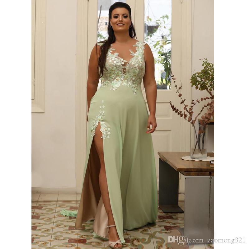Verde claro Plus Size Appliqued Vestidos de Baile Sheer V Neck vestido de noite A linha de divisão Side Chiffon Até o Chão Vestido Formal