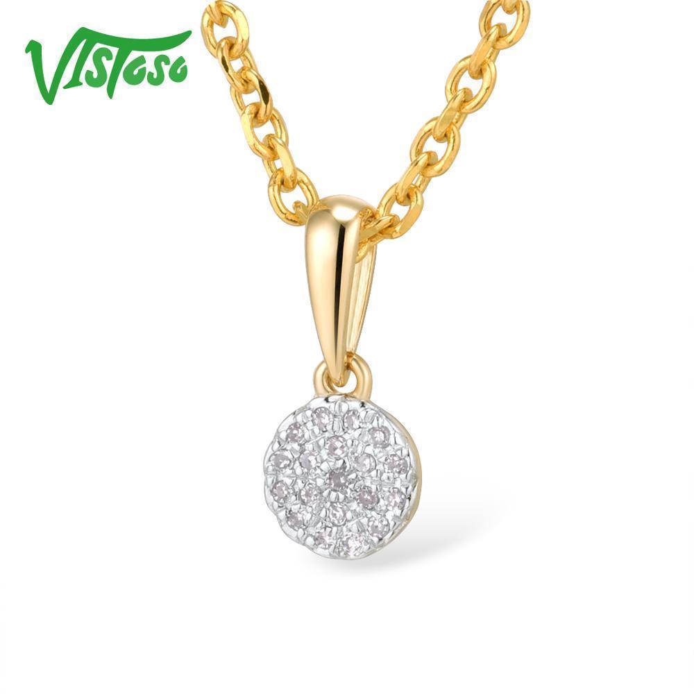 Vistoso Gold Anhänger für Frauen Authentic 14K 585 Gelbgold kleinen runden Kreis funkelnden Diamant-Halskette Anhänger edlen Schmuck