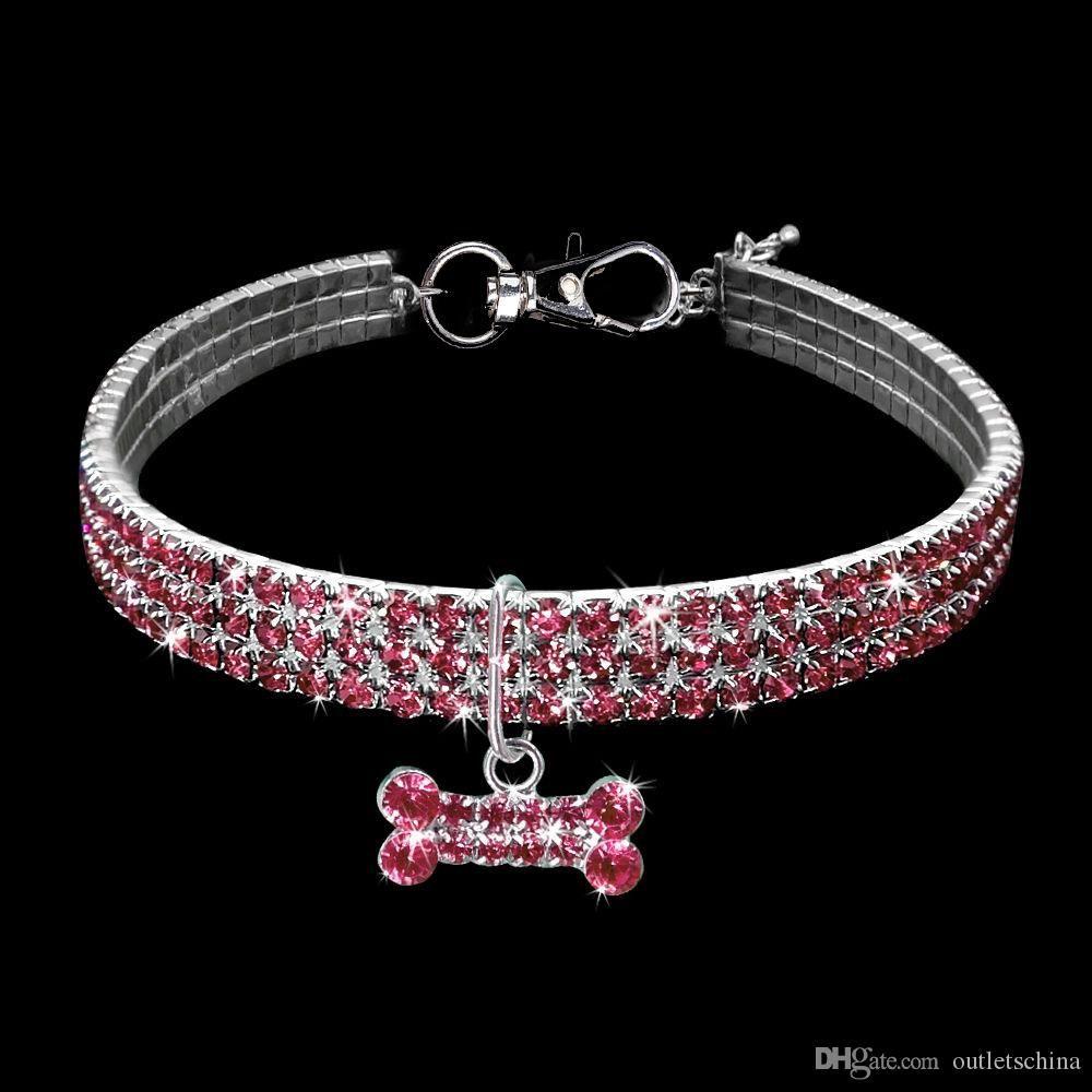 Bling strass chien chat collier collier d'alliage diamant chiot colliers d'animaux de compagnie laisse pour petits chiens moyens s m l bijoux accessoires chien chien