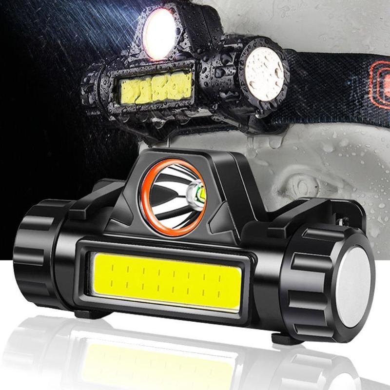 Survie en plein air Camping de randonnée Équipement portable Mini XPE + COB LED USB de charge Phares Headlamp de pêche