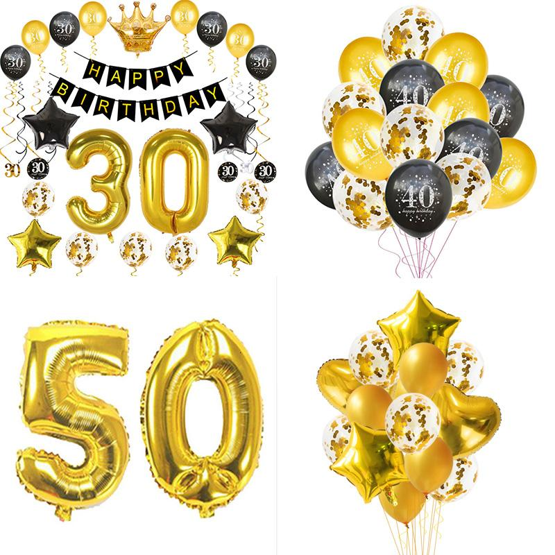 Gold 30/40/50/60th Birthday Party Decoration Adult Latex Confetti Balloons Happy 30 40 50 60Year Anniversary Wedding Party Decor SH190913