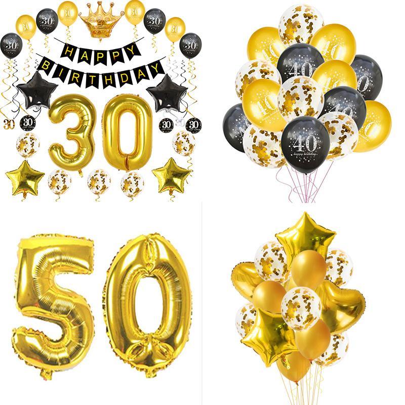 Or 30/40/50 / 60ème Décoration de Fête D'anniversaire Adulte Latex Ballons De Confettis Heureux 30 40 50 60Anniversaire De Mariage Partie Décor SH190913
