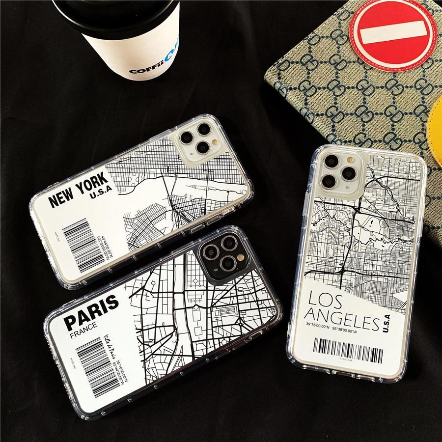 INS باريس مدينة رسم خريطة الهاتف القضية للحصول على 11 برو X XS ماكس XR 6 7 8 زائد نيويورك بار كود رسالة واضحة لينة الغلاف كوكه