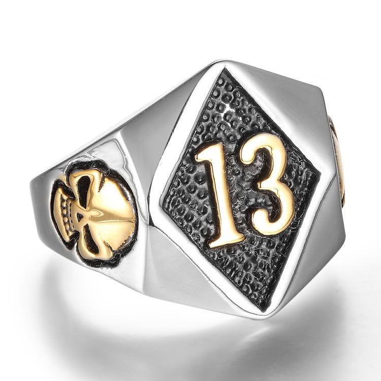 316L Stainless Steel 18k Gold Silver Punk Gothic Men's Biker 13 Skull Ring Jewelry