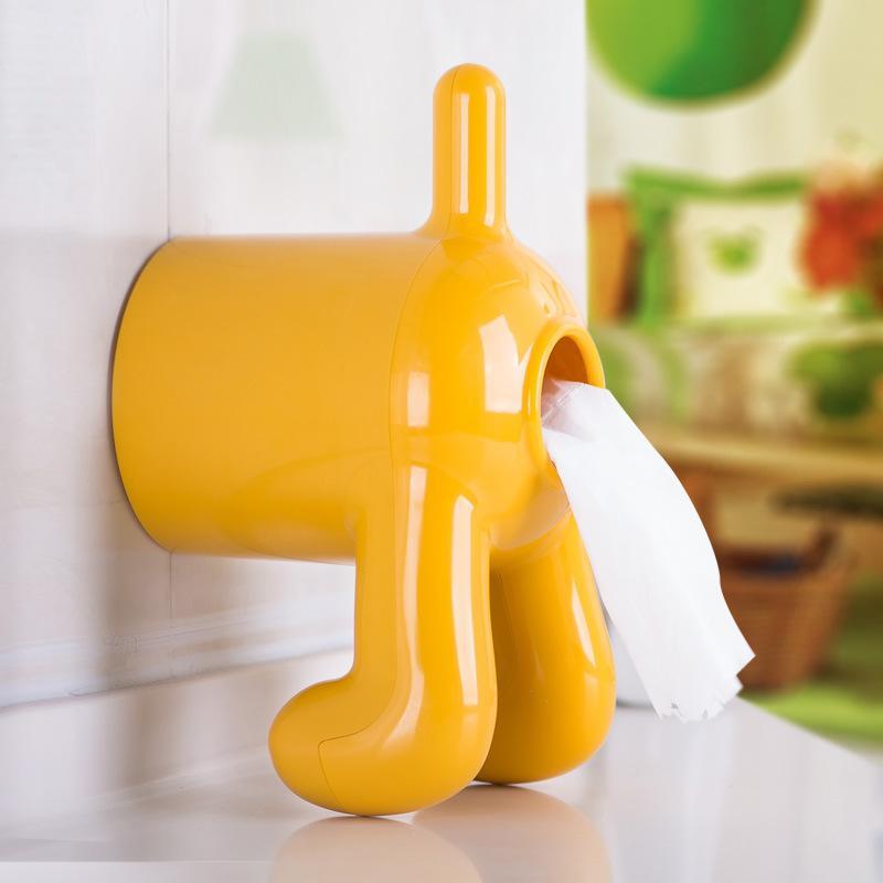 귀여운 강아지 모양의 화장실 욕실 조직 상자 냅킨 벽 슈퍼 강력한 어리버리 매달려 유형 티슈 케이스 롤 용지 ZJH16