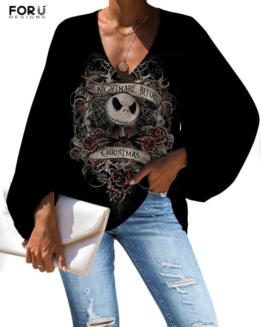 FORUDEGINS femmes Chemisier Etrange Noël Motif d'impression Jack Style gothique dame manches longues Vêtements Casual shirt femme