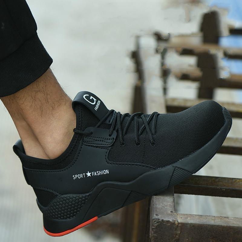 Moda-Çelik burunlu ayakkabı erkek İş Güvenliği Ayakkabı savaş yarım çizmeler yıkılmaz moda nefes Sneakers kadın yalıtım Ayakkabı