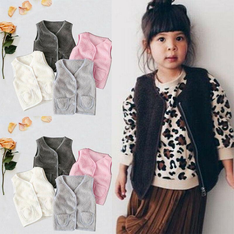 2019 Baby-Frühlings-Herbst-Kleidung Kinder Weste Kleinkind-Mädchen Faux-Pelz-Baumwollweste Mädchen warme Winterjacke Taschenweste