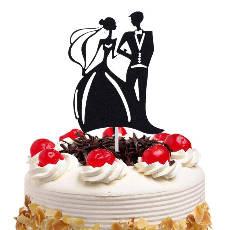 20pc/lot Cake Toppers Flags Black Mr & Mrs Heart Love Kids Birthday Cupcake Topper Wedding Bride Groom Party Baking DIY Xmas