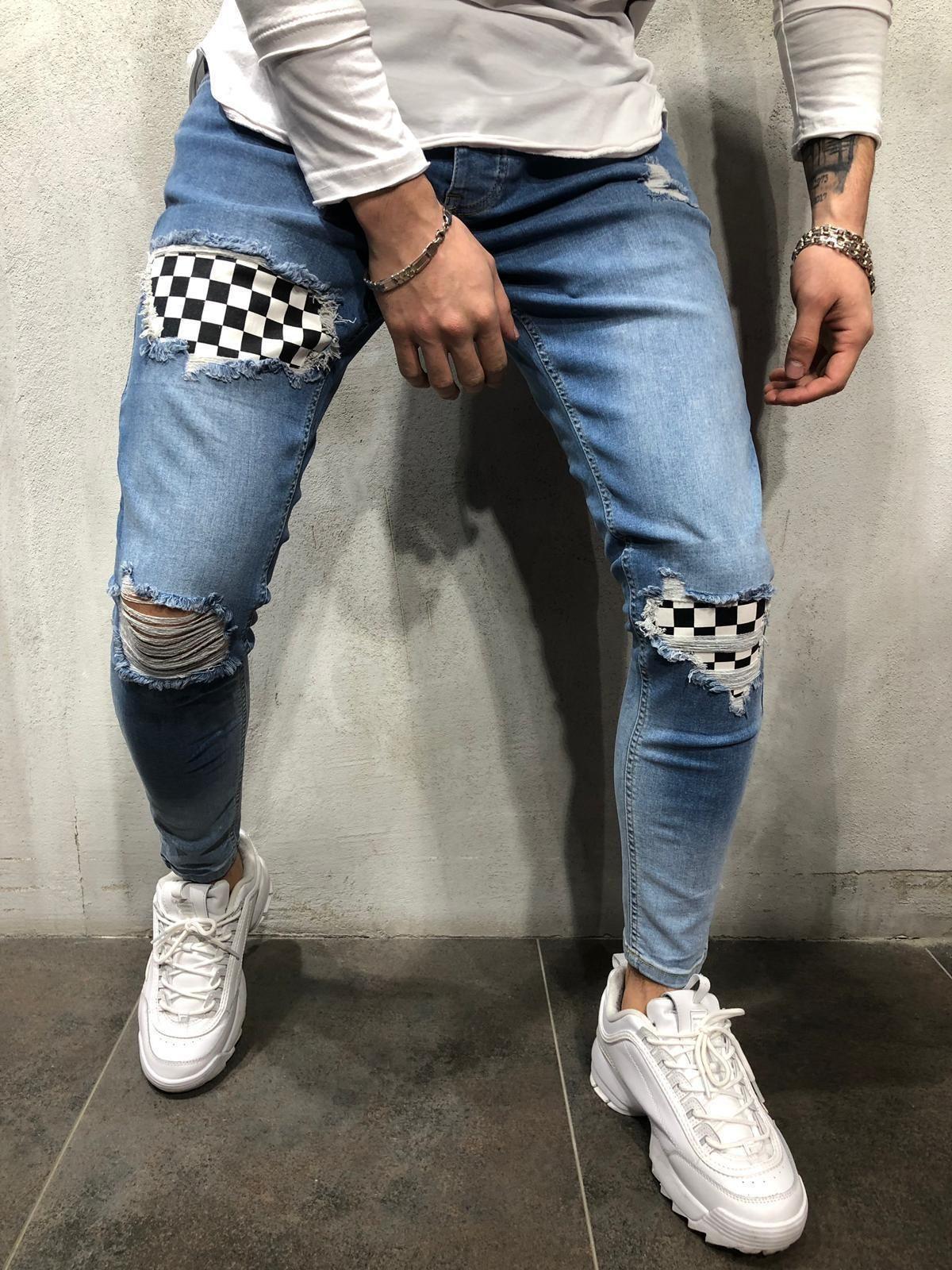 Мода Streetwear Хип-Хоп Рваные Мужчины Эластичные Патч Джинсы Сплошной Цвет Личности Простые Молнии Отверстия Мужской Синий Джинсовые Брюки