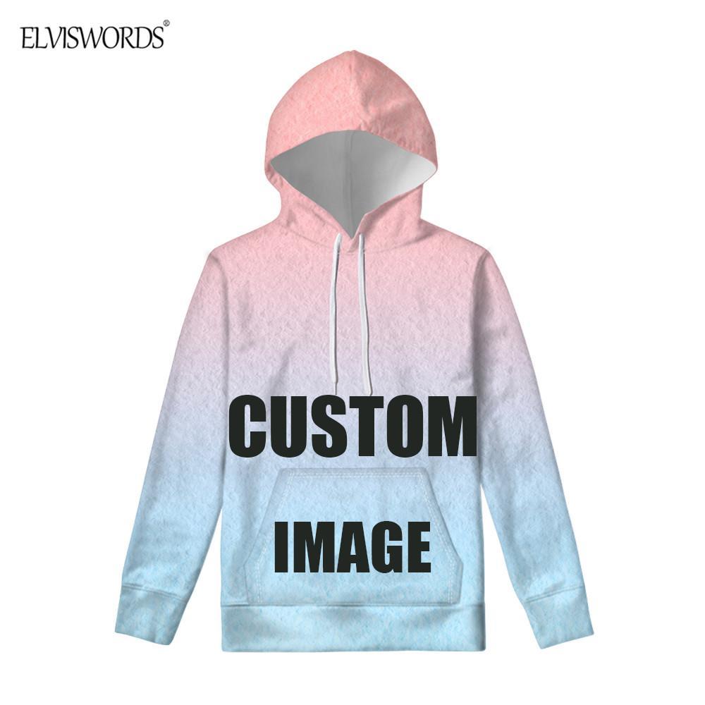 ELVISWORDS Hoodies 3D impressão personalizada Men manga comprida Pullovers Streetwear Outono-Inverno Quente casaco moletom com capuz Treino