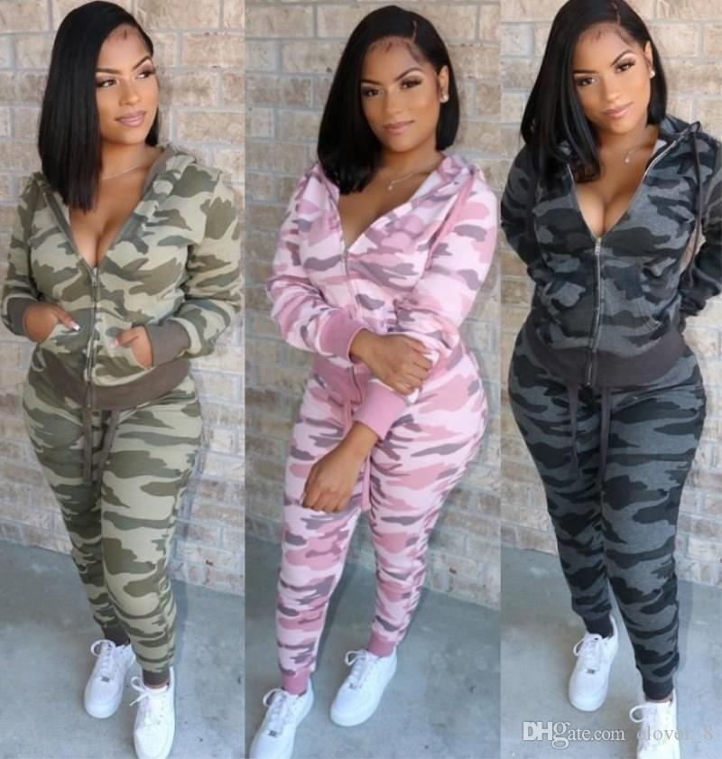 Women long sleeve coat outfits cardigan tracksuit womens outerwear 2 piece set fashion camouflage print sports suit autumn pantsuit klw3150