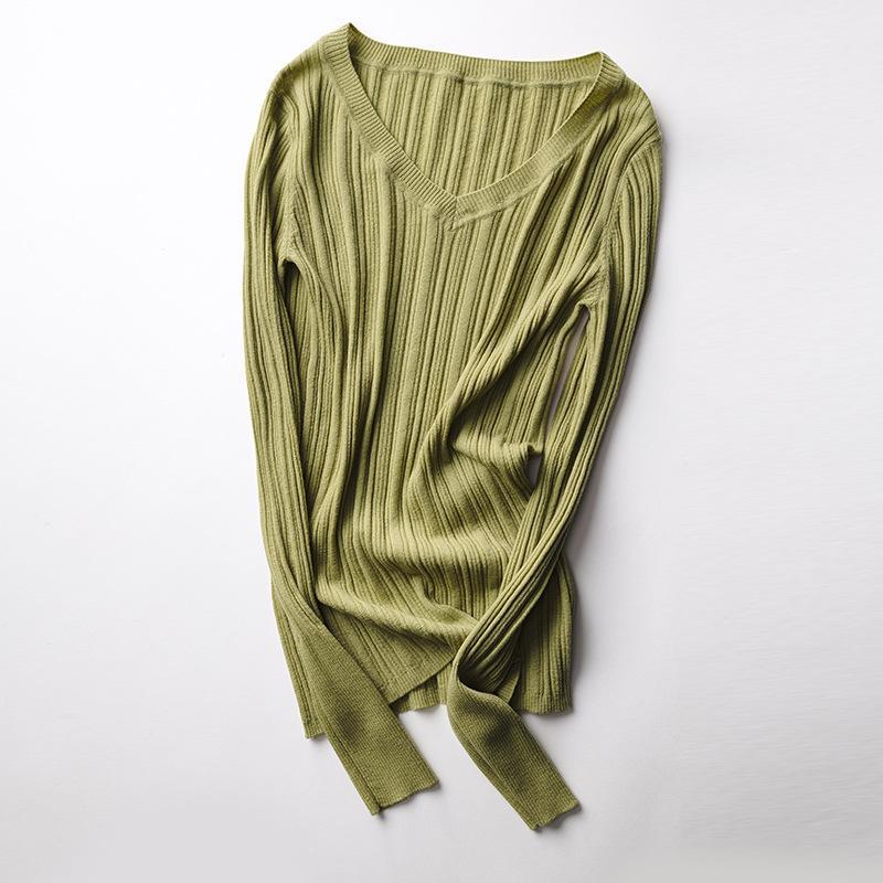 Текстурированные 100% шерстяной свитер женщин V шеи трикотажные Пуловеры Свитера