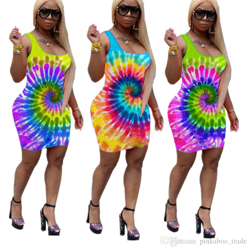 Лето галстук-краситель печатных женщин One Piece юбки цветочные рукавов сексуальные платья скольжения мода Bodycon платье пляж повседневная одежда S-XL C72404