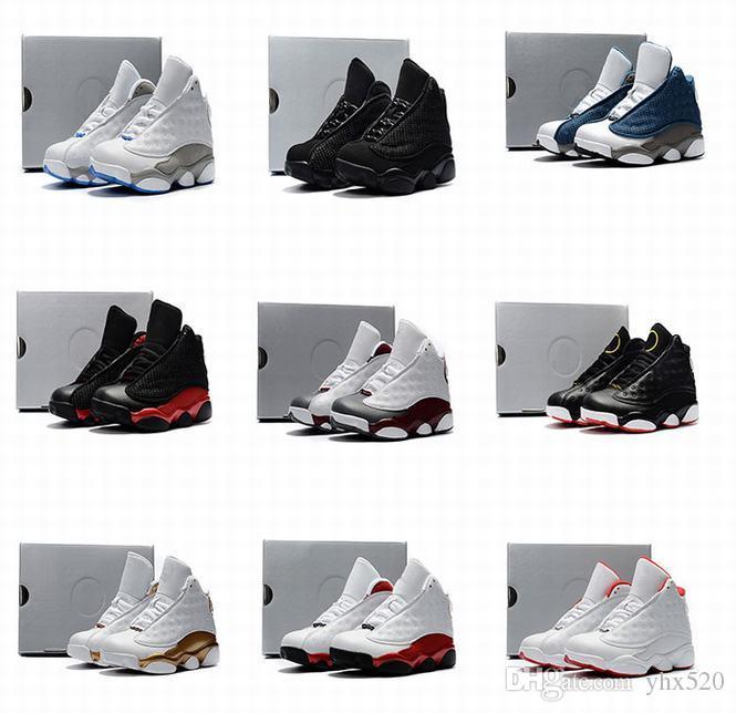 Boy Filles Enfants 13s Blanc Rose He Got Histoire Jeu de chaussures de basket-ball Vol interphones pour bébé 13 Bleu Flints Playoffs Kid Cadeaux Sneakers