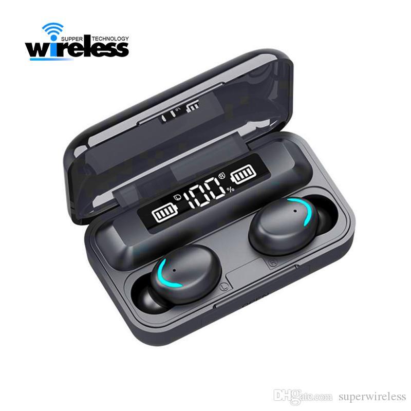 F9-5c TWS sem fio Fone de ouvido Bluetooth 5.0 Toque fones earbuds 9D Stereo Sport Music LED Waterproof exibição Headset Com Mic