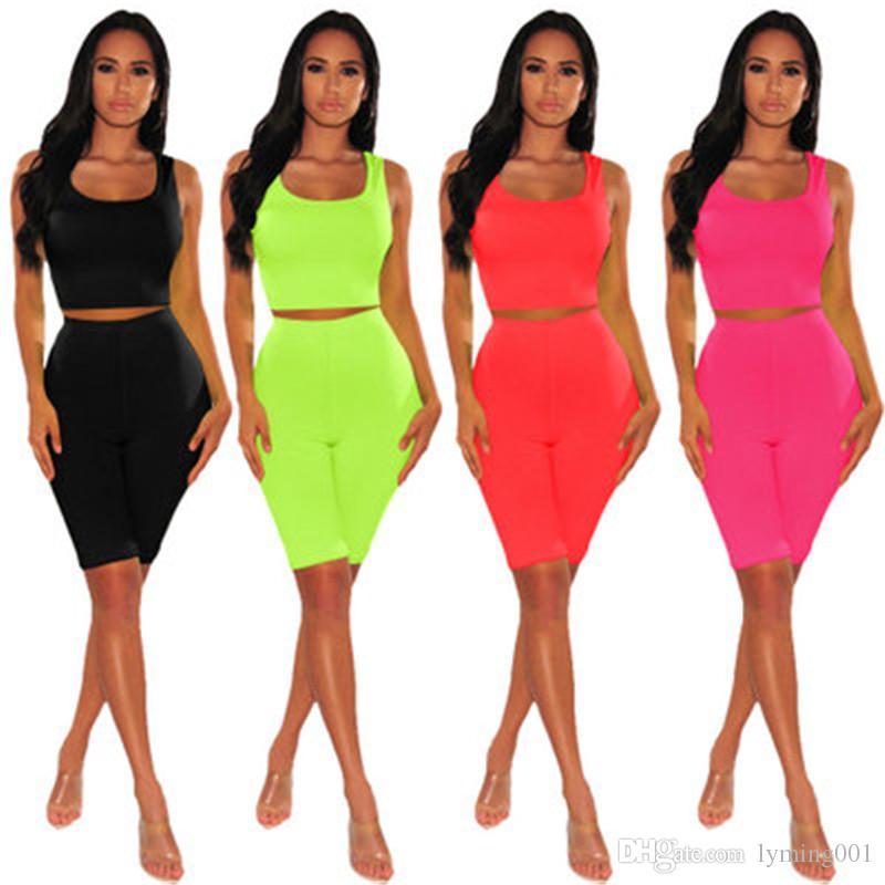 Женские летние спортивные костюмы из двух частей сплошного цвета без рукавов. Модная одежда с пупком. Жилет, футболка, шорты, спортивная одежда, спортивный костюм S-XL