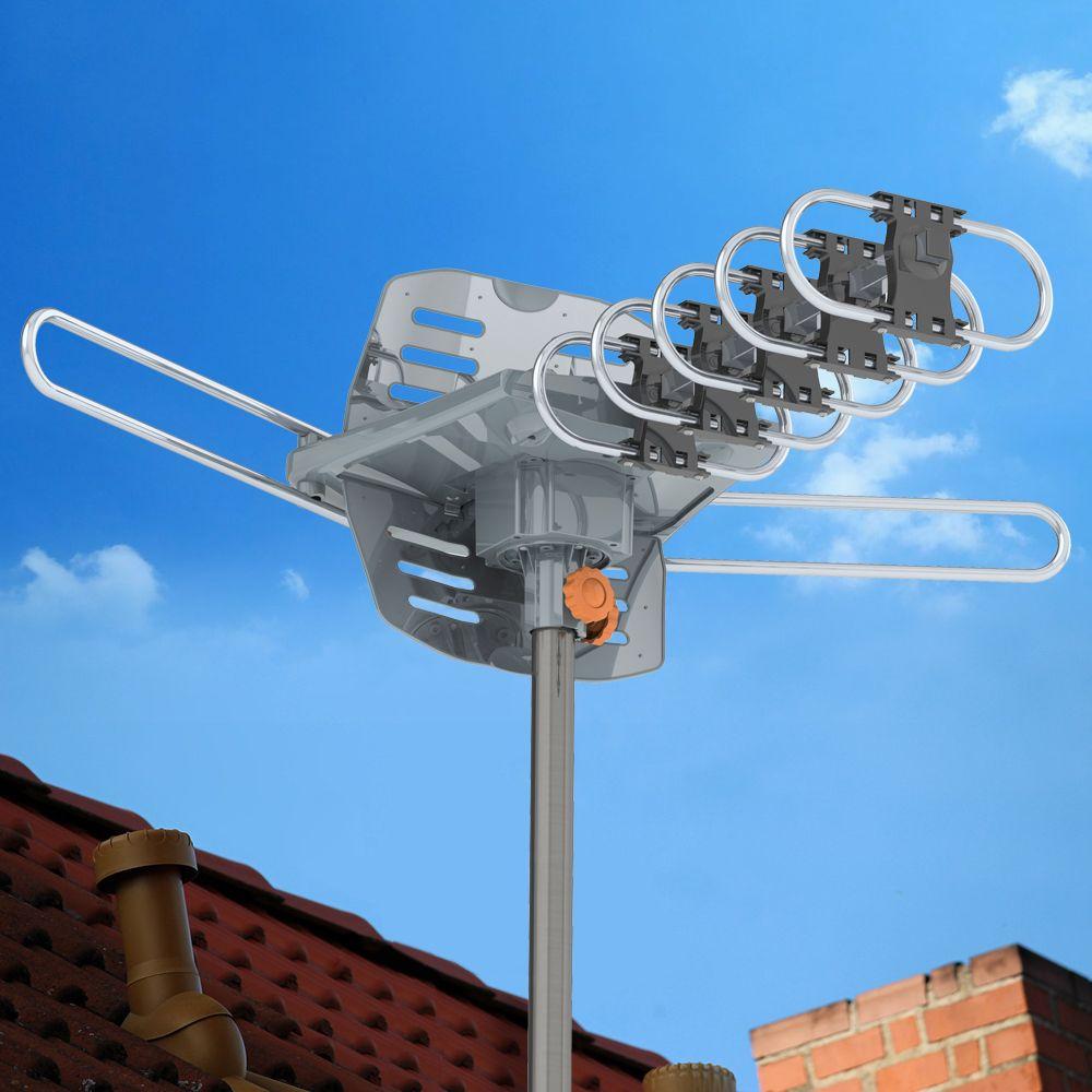 28-36DB Открытый телевизор Антенна амплифицировали HDTV 1080P Высокое усиление UHF Серебро 100 миль 360-градуса вращения без стенда Горячая вещь