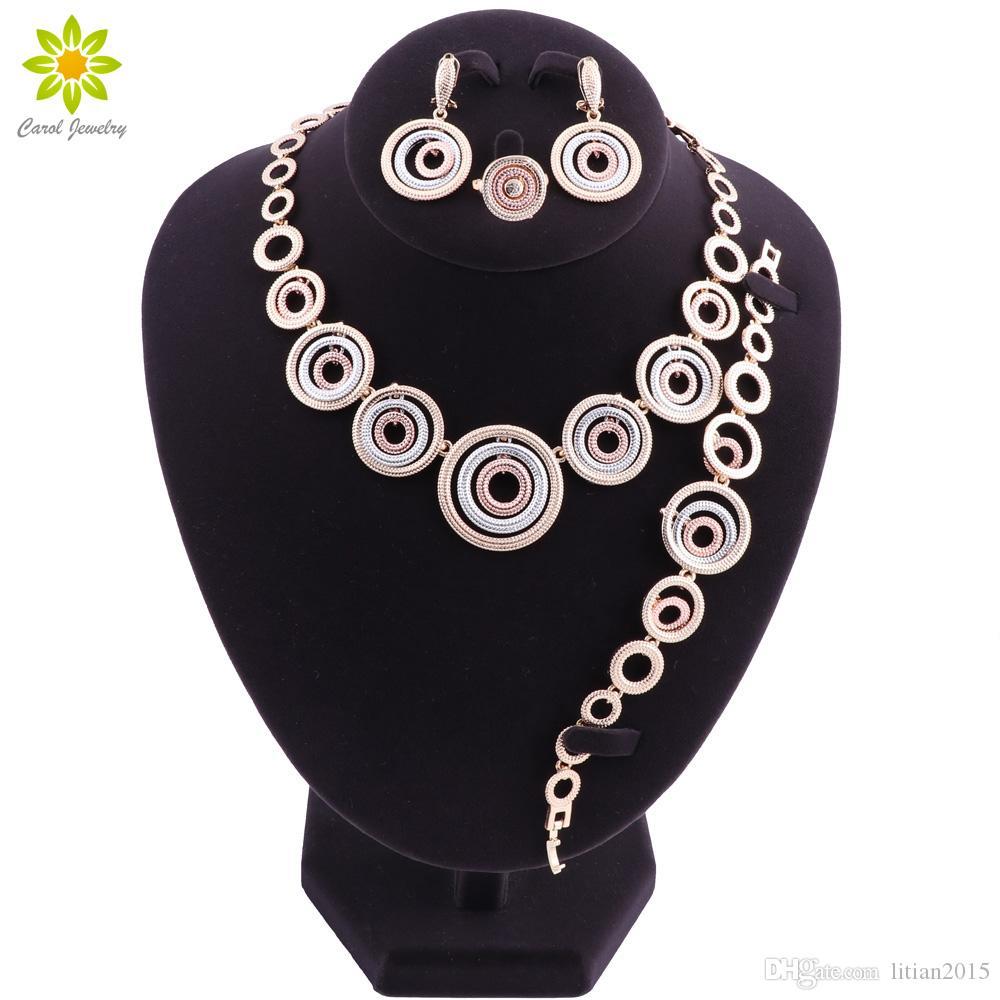 Dubai Nupcial Conjuntos de Jóias Para As Mulheres de Design de Moda Rodada Beads Africanos Conjunto de Jóias Indiano Traje Indiano Do Casamento Jóias
