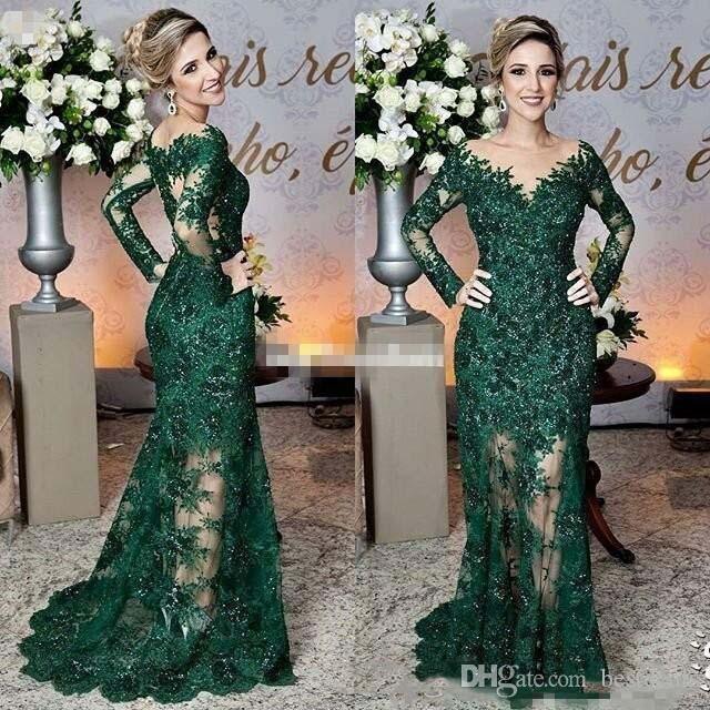 2020 vert foncé mère de la mariée Robes Sheer Jewel cou à manches longues en dentelle sirène Appliques formelle soirée robe de bal