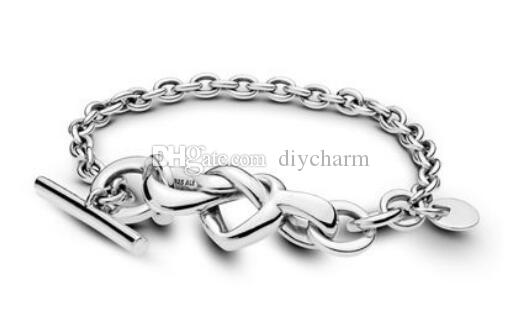 2019 Mother Day Knotted Heart Bracelet Genuine 925 sterling silver Bracelets fits for charms beads DIY fine jewelry wholesale hot sale