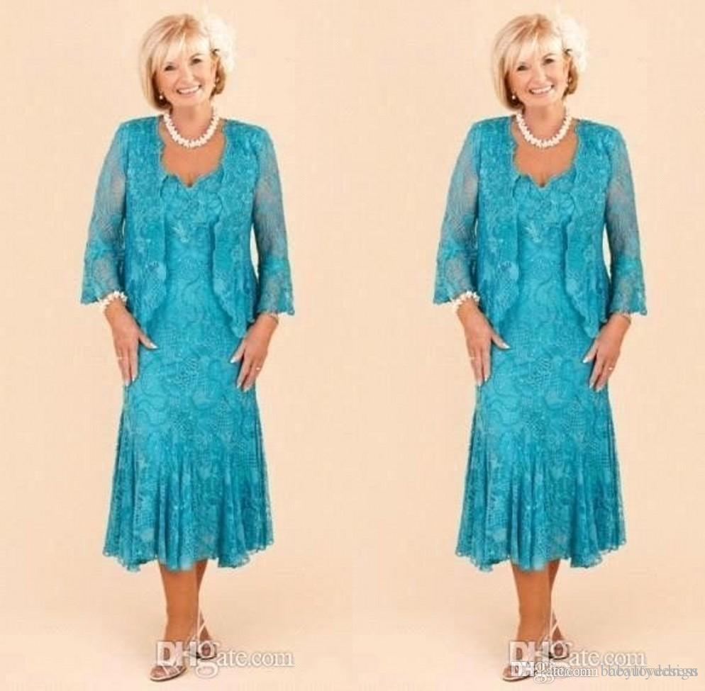 Élégante mère de la mariée Robes Plus Size Robes mère col en V thé longueur de mariage élégant Party Guest Robes avec veste Custom Made