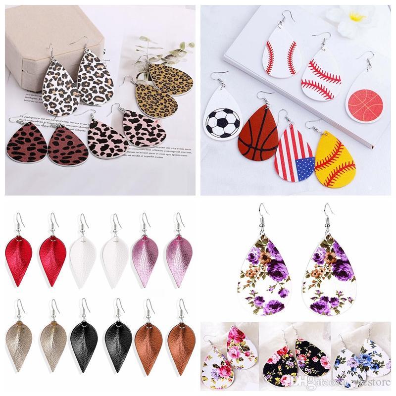 9 styles PU leather glitter sparkly Oval Earrings Fashion drop Dangle Earrings for Women free shipping