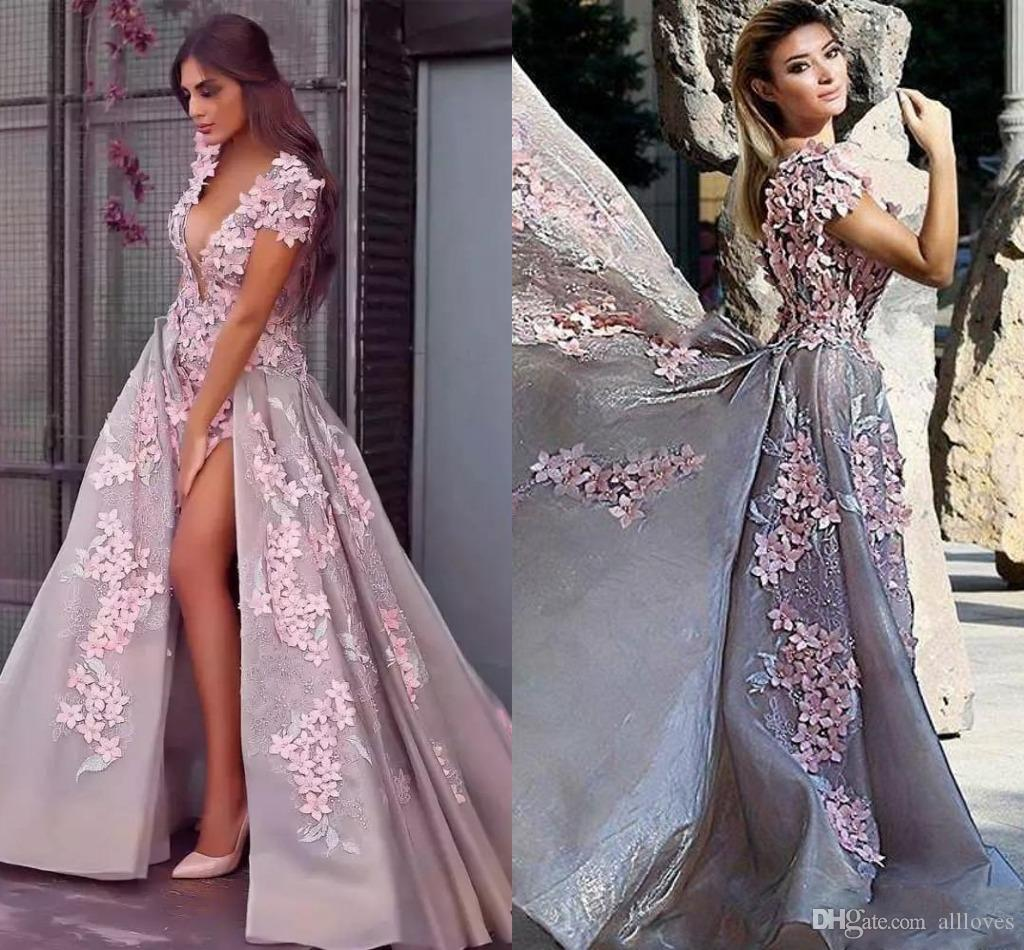 Pink 3D Flowers Deep V Neck Prom Dresses Arabic 2020 High Split Floral Lace Special Occasion Dress Short Sleeve Beaded Evening Gowns AL4632