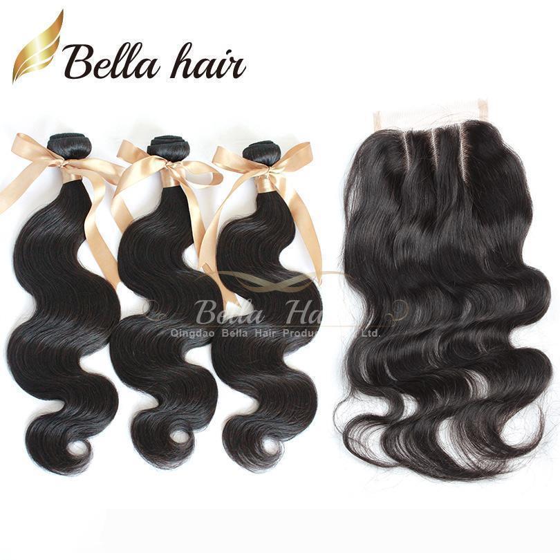 Pérou Cheveux Tissages cheveux humains perruque avec Closures Body Wave 3Pcs Cheveux Trames avec 3 Partie fermeture Bundles Bel