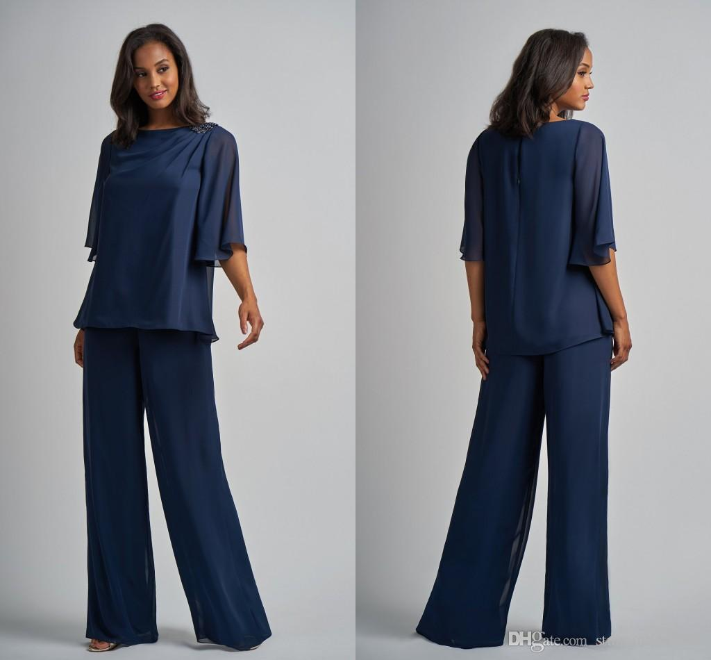 Fashion Navy Two Pieces Mother of the Bride Groom Suits Designer Halter Sleeves Chiffon Mob Pant Suits Wedding Party Evening Dress Gowns